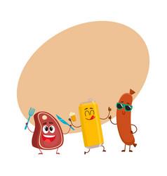 happy beer can meat steak frankfurter sausage vector image vector image