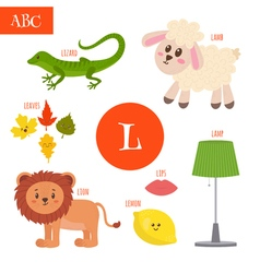 Letter L Cartoon alphabet for children Lion lamb vector image