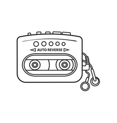 Old fashioned black and yellow audio player vector