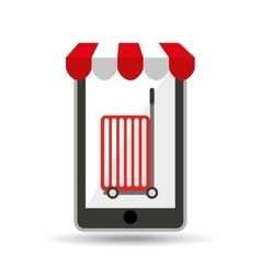 online shopping red trolley design vector image vector image