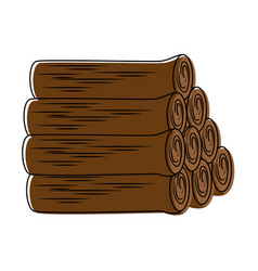 Pile wooden trunks icon vector