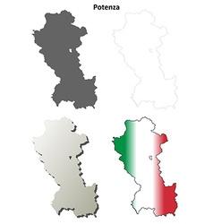 Potenza blank detailed outline map set vector image