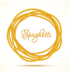 Realistic twisted spaghetti pasta circle frame vector