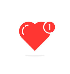 red simple heart like notification vector image vector image