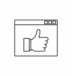 Screen with thumbs up sign icon outline style vector image