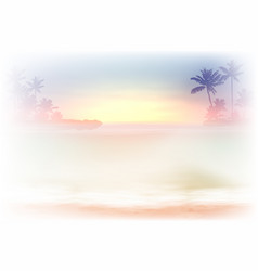 sea sunset with palm trees vector image vector image