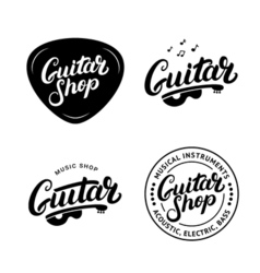 Set of guitar shop hand written lettering logos vector image vector image