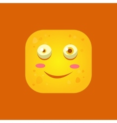 Smiling yellow monster emoji icon vector