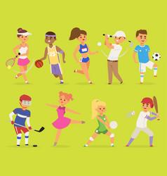 ssportsmen cartoon characters boy and girl vector image