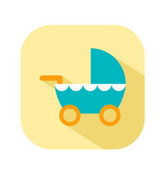 Stroller for walks flat color icon things for the vector