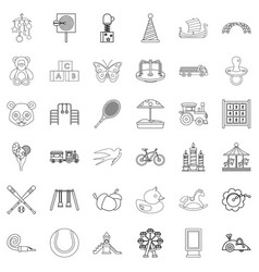 swing icons set outline style vector image vector image