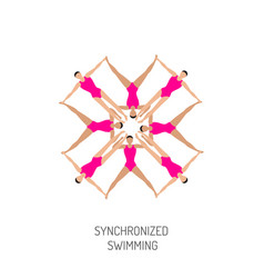 synchronized swimming banner vector image vector image