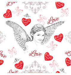 Vintage romantic seamless pattern vector image vector image