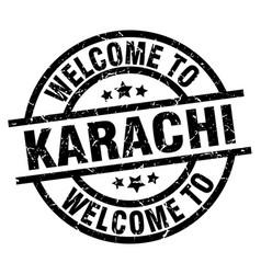 Welcome to karachi black stamp vector