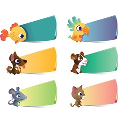 Collection of cartoon pets with banners on vector
