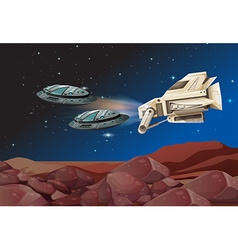 Spaceships flying over the land vector