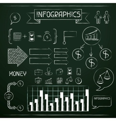 Set of chalkboard infographics and business icons vector