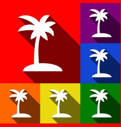 Coconut palm tree sign  set of icons with vector