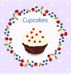 cupcake greeting card template vector image