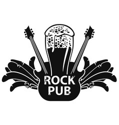 banner for rock pub with guitar and beer vector image