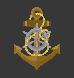 Anchor with rope and helm icon vector