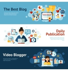 Blogger banner set vector