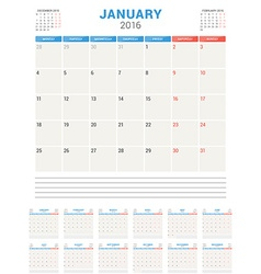 Calendar planner 2016 flat design template set of vector