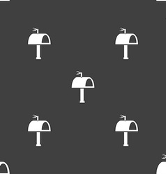 Mailbox icon sign seamless pattern on a gray vector