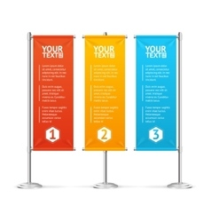 Blank banner flags colorful set with text vector