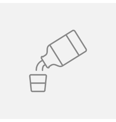 Medicine and measuring cup line icon vector