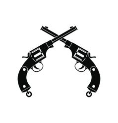 Crossed revolvers black icon vector image