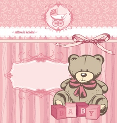 welcome baby girl announcement card vector image