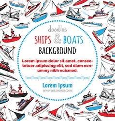 Nautical ships and boats background vector