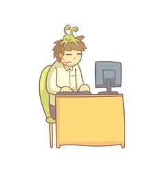 Office worker with the sloth monster on the head vector