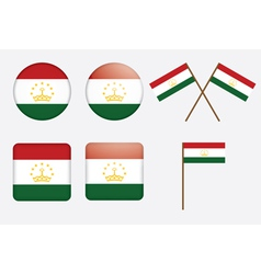 Badges with flag of tajikistan vector