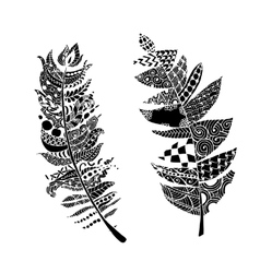 Art feather zentangle style for your design vector image
