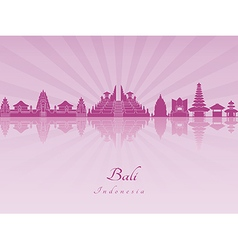 Bali skyline in purple radiant orchid vector