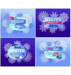 best dicounts winter big sale best offer posters vector image vector image