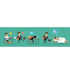 Businessman working day breakfast work sleep vector