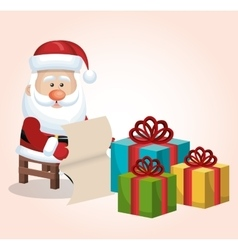 Card santa claus sitting with boxes gift list vector
