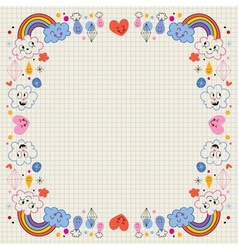 Clouds rainbows raindrops hearts love border vector
