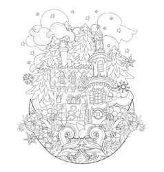 Cute christmas fairy tale town doodle vector