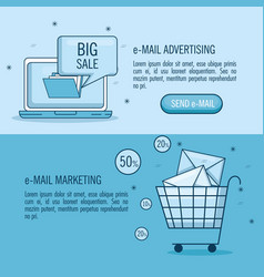 Email marketing and email advertising infographic vector