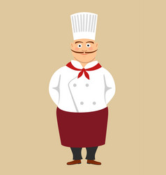 Fat cute male cook chef with long mustache vector