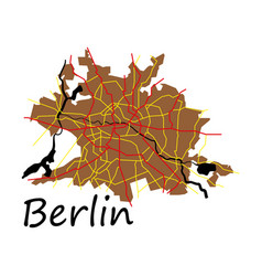 flat berlin city map with boroughs silhouette vector image