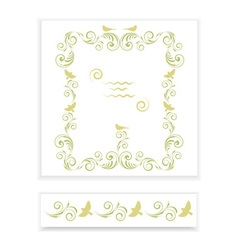 Frame with ornament and birds vector image vector image