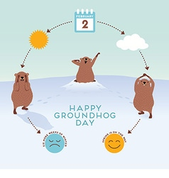 Groundhog day infographic with cute groundhogs vector