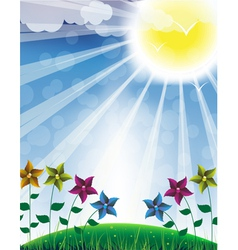 Hot sun and flowers vector image
