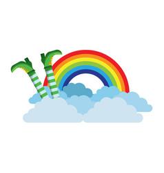 Leg of leprechaun rainbow clouds magic traditional vector