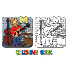 Musician or guitarist coloring book alphabet m vector